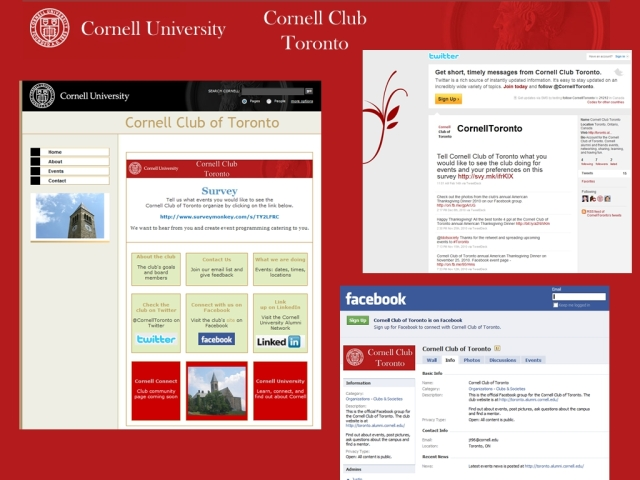 Cornell Club of Toronto Website and Social Media channels