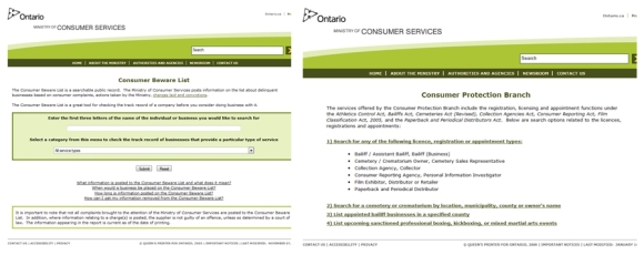 Ontario Consumer Protection Services