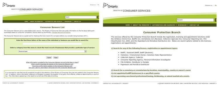 Ontario Consumer Protection Services