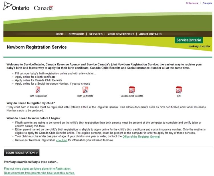 Ontario Newborn Registration Service