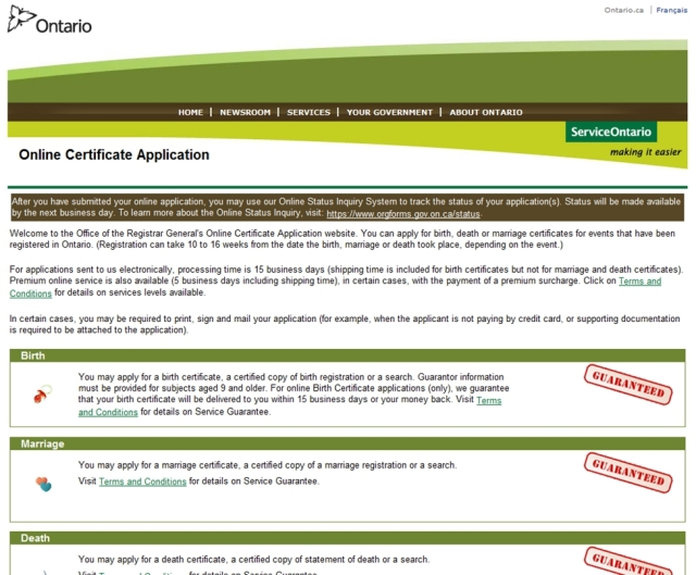 Ontario Online Certificate Application