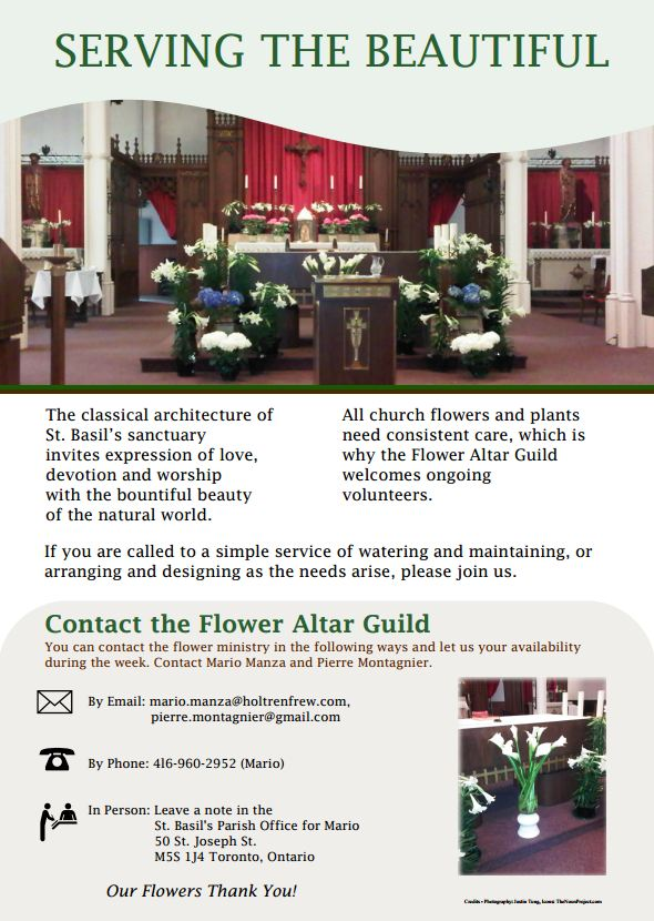 Informational poster for St Basil Flower Altar Guild