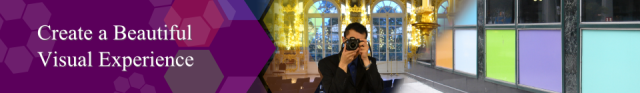 Photographer with palace room in background
