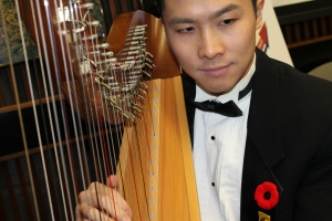 Harp and strings close up of Justin playing