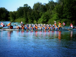 Dragon boat racing in water