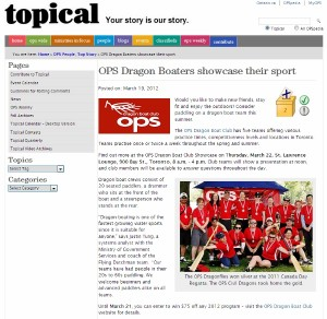 Newspaper article about OPS Dragon Boat Club