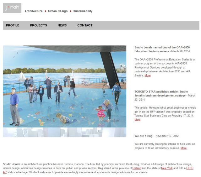 Home page of Studio Jonah showing architecture project
